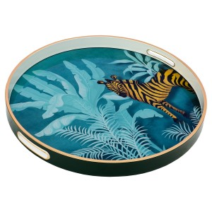 Circular Tray With Zebra Design - Large