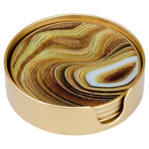 Coasters Circular Sand Design - Set of 4