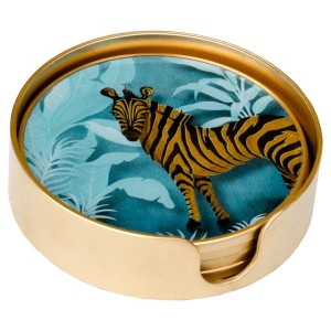 Coasters Circular Zebra Design - Set of 4