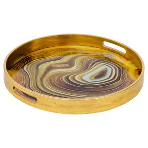 Circular Gold Tray With Sand Design