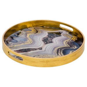 Circular Gold Tray With Oyster Design