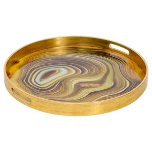 Circular Gold Tray With Sand Design - Large