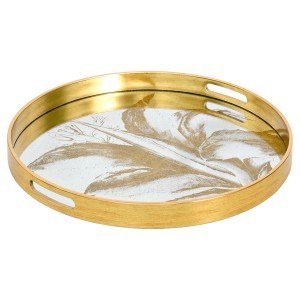 Circular Gold Tray With Mirrored Leaf Design - Large