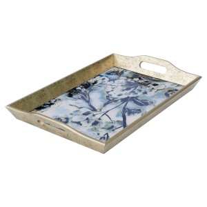 Rectangular Antique Gold Tray With Flower Design - Large