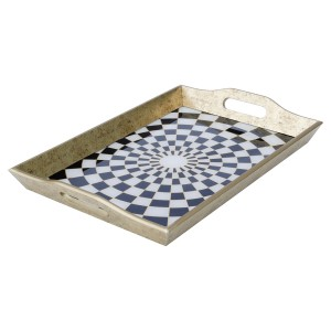 Rectangular Antique Gold Tray With Chequer Design - Large