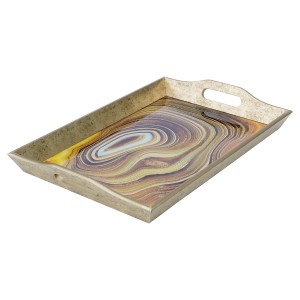 Rectangular Antique Gold Tray With Sand Design - Large