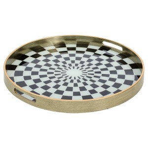 Circular Antique Gold Tray With Chequer Design - Large