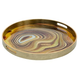 Circular Antique Gold Tray With Sand Design - Large