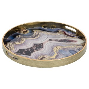 Circular Antique Gold Tray With Oyster Design - Large