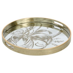Circular Antique Gold Tray With Floral Design - Large