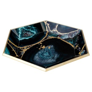 Hexagonal Gold Tray With Deep Blue Agate Design
