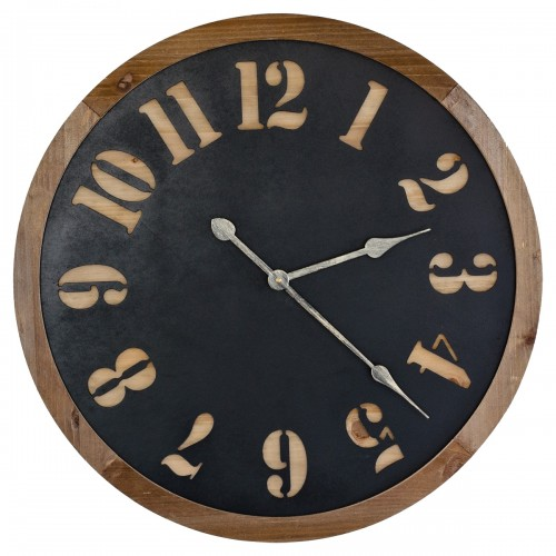 Round Wooden & Metal Wall Clock