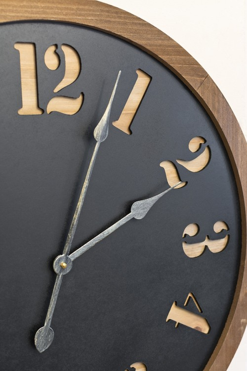 Round Wooden & Metal Wall Clock - Zoom In
