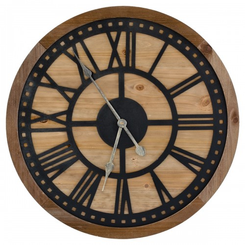 Round Roman Numeral Wooden & Metal Wall Clock