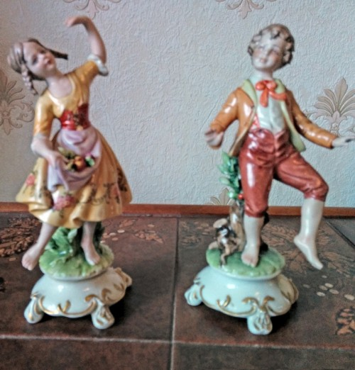 Dancing Boy and Girl Porcelain Figurines