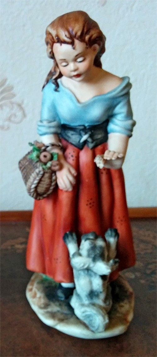 Girl with Dog Porcelain Figurine