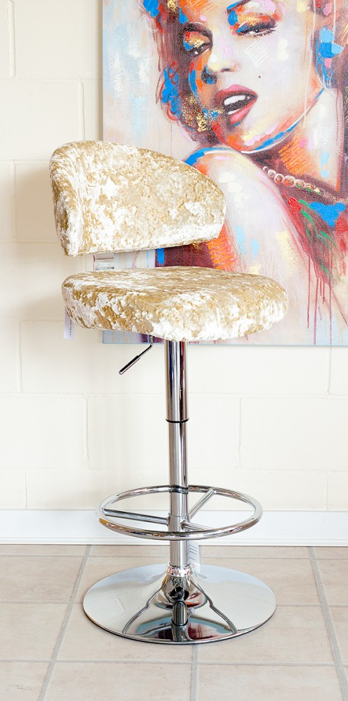 Casino Bar Stool in Lustro Chalk Fabric