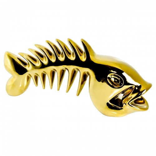 Ceramic Skeletal Fish Sculpture - Gold