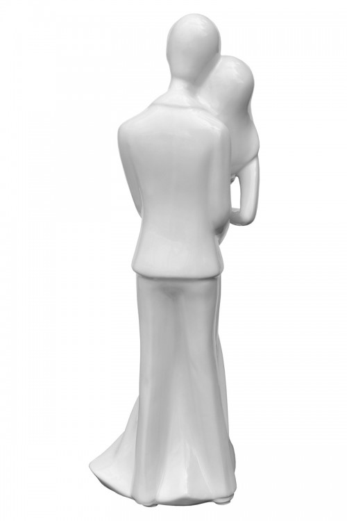 Ceramic White Wedding Couple - Back