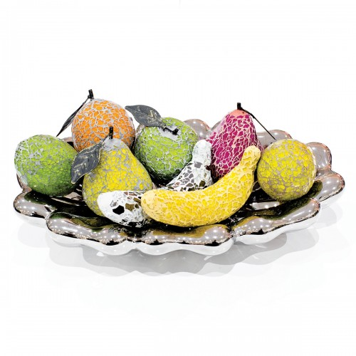 Ceramic Oval Bowl with Mosaic Glass Fruit
