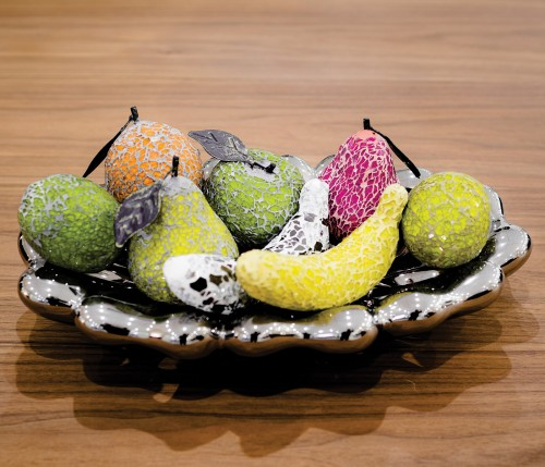 Ceramic Oval Bowl with Mosaic Glass Fruit in our Showroom