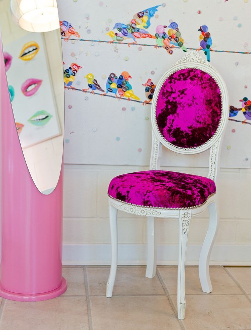 Ovaline Chair sprayed white with a pink crush fabric