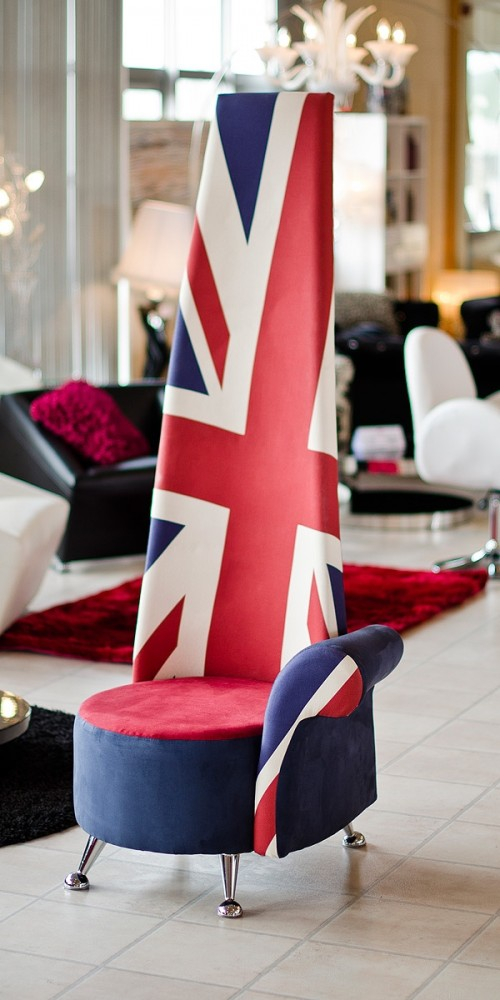 Union Jack fabric potenza chair in our showroom