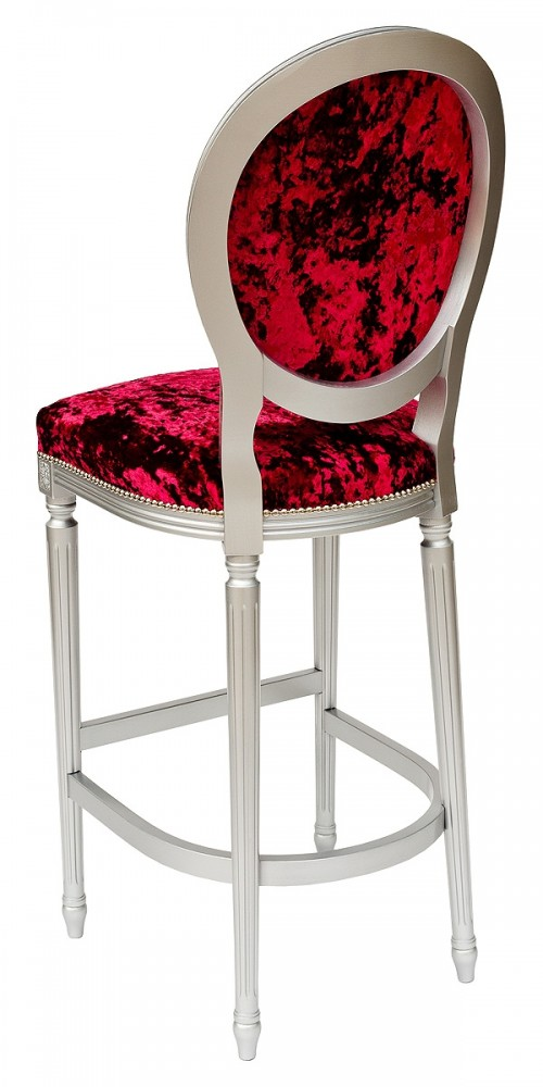 Georgian Round Back Bar Stool in Red Crush - Back