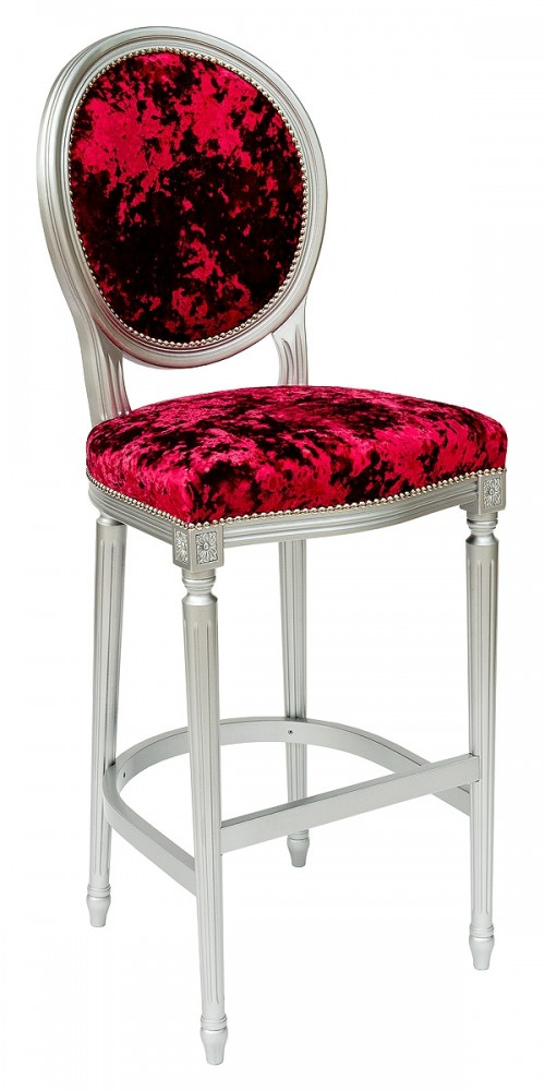 Georgian Round Back Bar Stool in Red Crush - Front