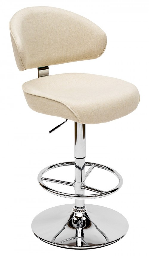 Casino Bar Stool - Arran Oyster Fabric - Front