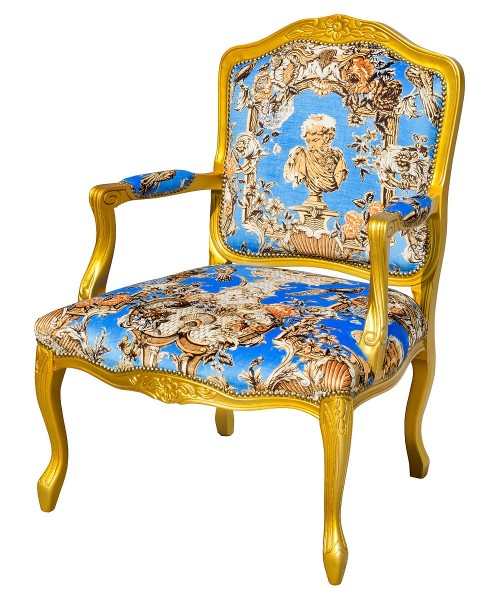 Regence Arm Chair in Romano Azure Blue Fabric and Gold Frame