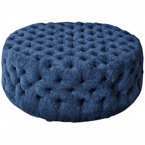 Large Navy Blue Deep Button Fabric Pouffe