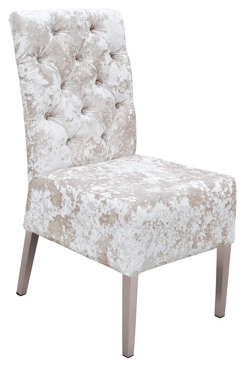 Clarice Dining Chair in Lustro Chalk Fabric