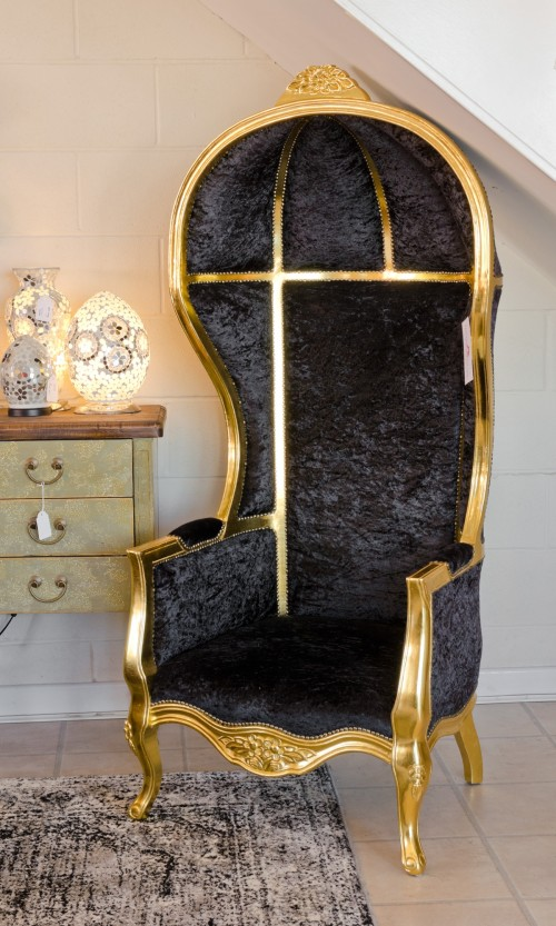 Porters Chair in Gold in our Showroom