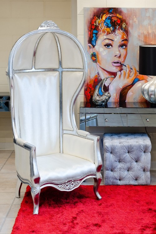 Porters Chair in Silver and White Fabric on display in our Showroom