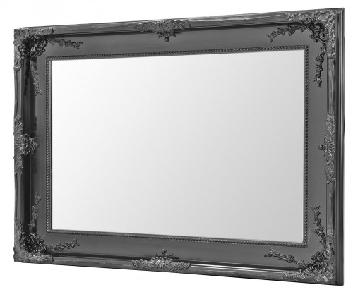 Charles Boroque Style Wall Mirror - Matt Black