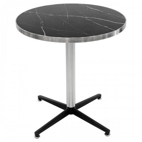 Black marble round table top on top of a brushed steel and black table base
