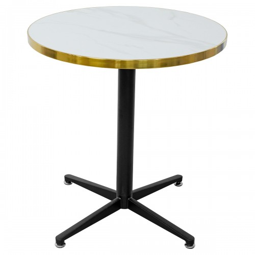 White Ceramic Round Table Top on top of a black metal table base