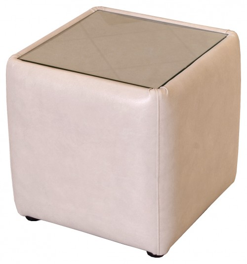 Glass Top Square Side Table Stool