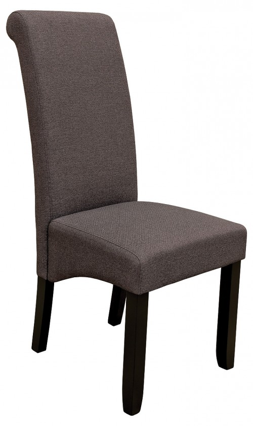 Scroll Back Dining Chair in Brown