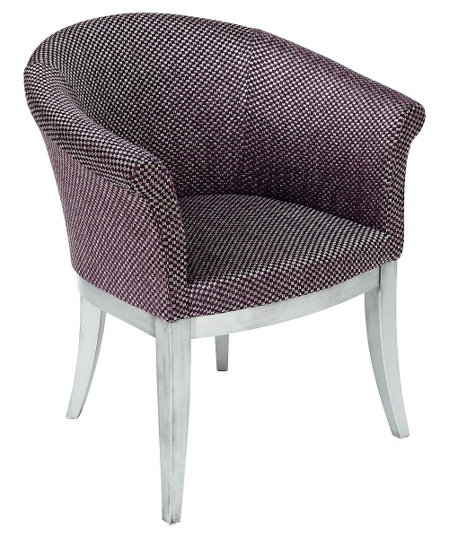Irene Tub Chair in Purple & Silver Fabric
