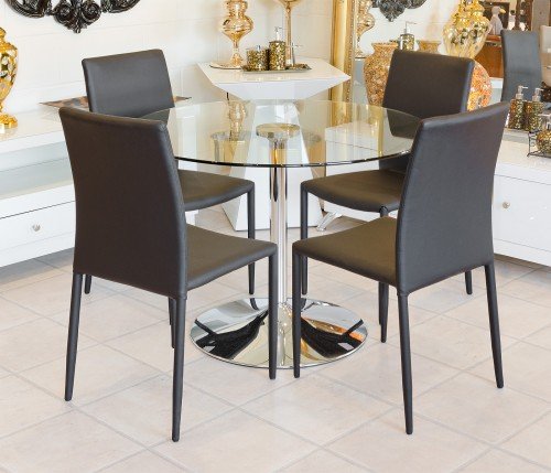 Glass top dining set with Dora stackable black dining chairs