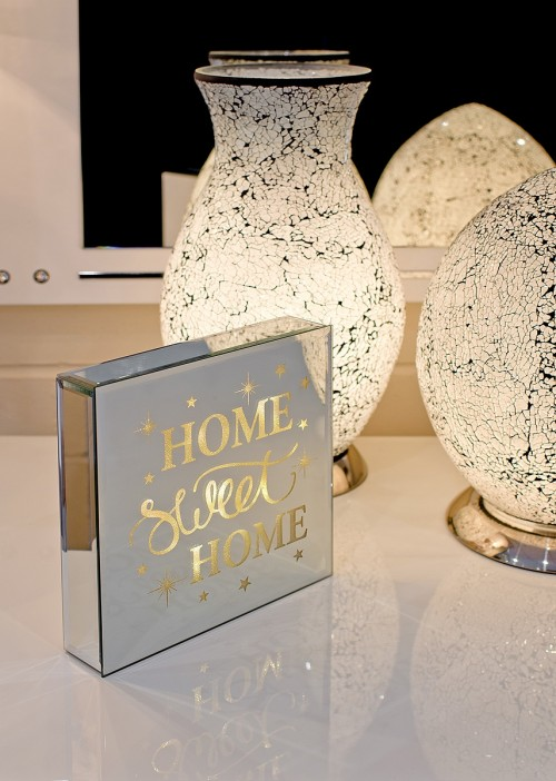 Home Sweet Home - Light Up Mirrored Plaque on display in our Showroom
