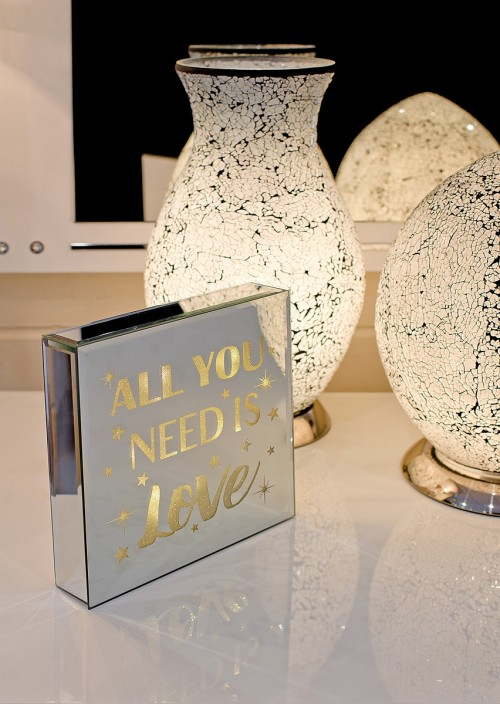 All You Need Is Love - Light Up Mirrored Plaque on display in our Showroom