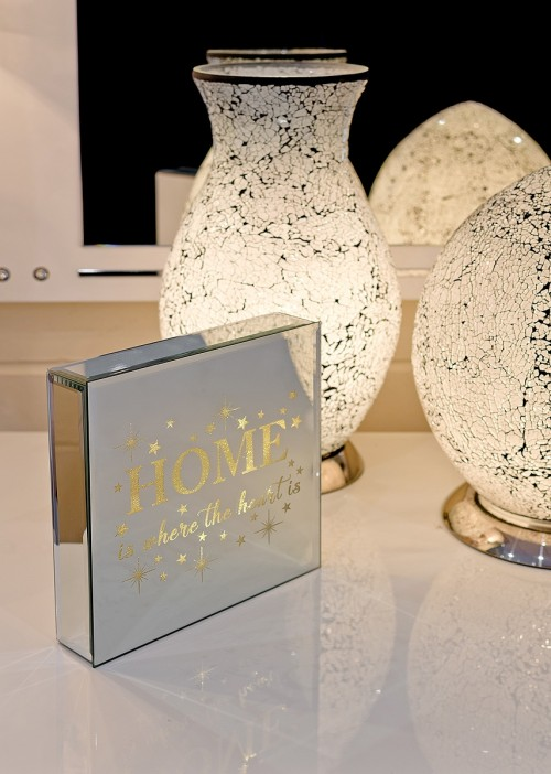 Home Is Where The Heart Is - Light Up Mirrored Plaque in our Showroom