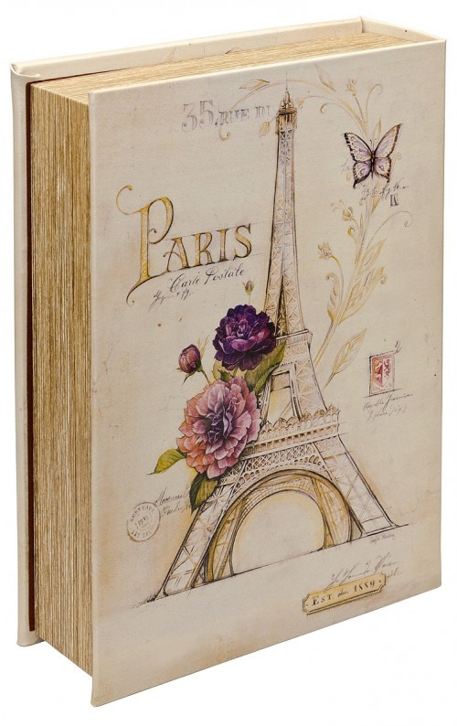 Mirrored Paris Storage Book Box - Back Cover