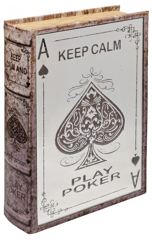 Mirrored Poker Storage Book Box - Mirrored Front Cover