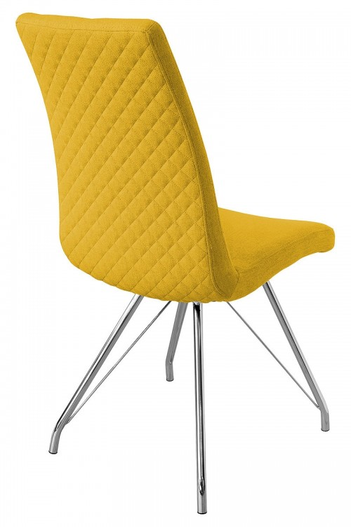 Madelina Fabric Dining Chair - Yellow - Back