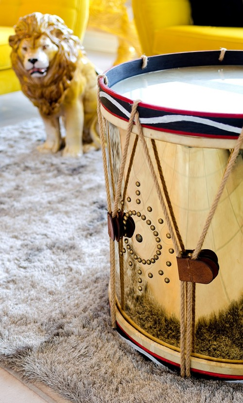 Large Golden Drum Side Table in our showroom