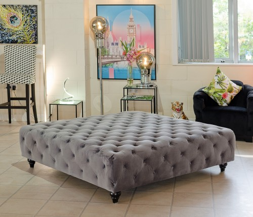 Large Square Grey Velvet Ottoman in our Showroom